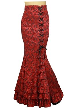 Chic Star Plus Size Jacquard Gothic Red Ruffle Fishtail Skirt