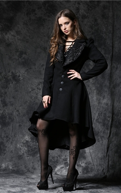 Dark In Love Gothic High Low Hem Coat