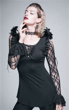 Devil Fashion Feathered Corvus Top