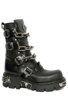 New Rock Black Leather Chain Reactor Sole Boots M.713-C1