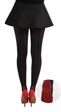 Pamela Mann Red Seamed Tights