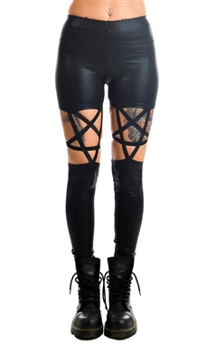 Rat Baby Gothic Black Pentagram Leggings