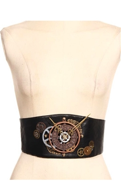 RQBL Steampunk Clock Cincher Belt