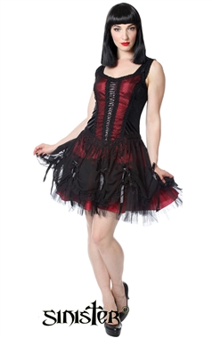 Sinister Traditional Gothic Red Mini Dress