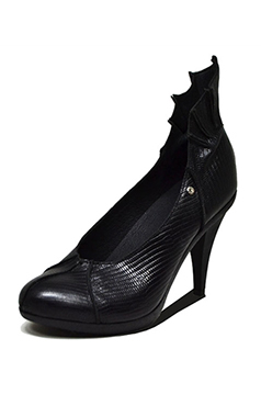 Steel Ground Leather Bat Heels