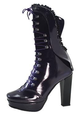 Steel Ground Purple Leather Victorian Boots