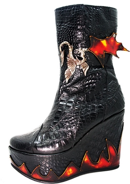 Steel Ground Leather Flame Platform Boots