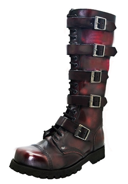Steel Ground Unisex Red Leather 30 Eye Boots