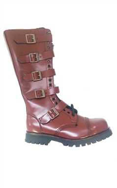 Steel Ground Cherry Red Leather 20 Eye Boots