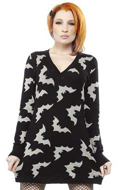 Sourpuss Gothic Bats Sweater Dress