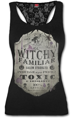 Spiral Witchy Familiar Lace Racerback Top