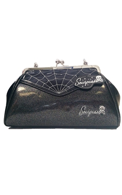 Sourpuss Retro Silver Web Backseat Baby Purse