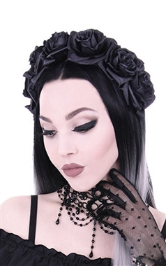 Restyle Gothic Black Roses Headpiece