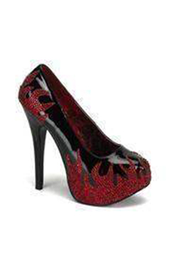 Bordello Shoes with Red Rhinestone Flames