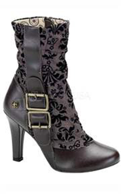 Demonia Steampunk Tweed Ankle Boot