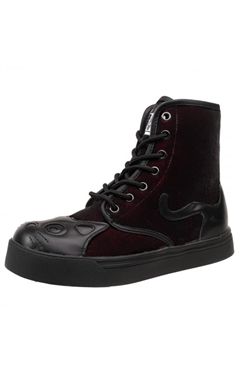 TUK Burgundy Gothic Velvet Kitty Boots