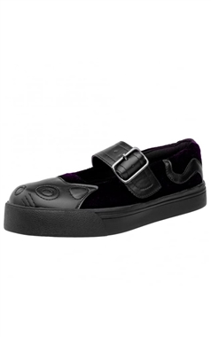 TUK Purple Velvet Kitty Mary Janes