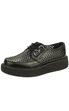 TUK Viva Lo Black Leather Perforated Creeper