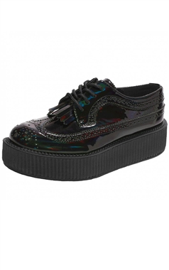 TUK Iridescent Black Brogue Viva Creeper