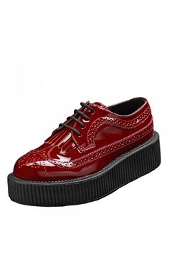 TUK Burgundy Patent Brogue Viva Creeper