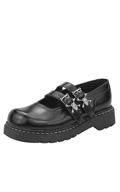 T.U.K Anarchic Leather Mary Janes with Skull Buckles
