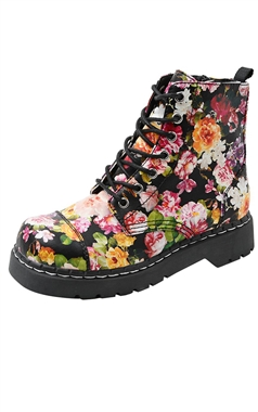 T.U.K Anarchic 7 Eye Dark Floral Boots