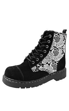 T.U.K Anarchic 7 Eye Black Suede Crochet Boots