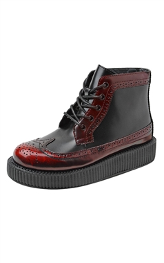 T.U.K Burgundy Rub Off Brogue Creeper Boots
